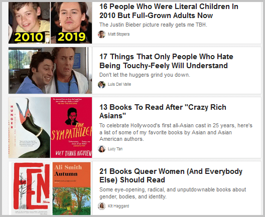 Buzzfeed Listicles